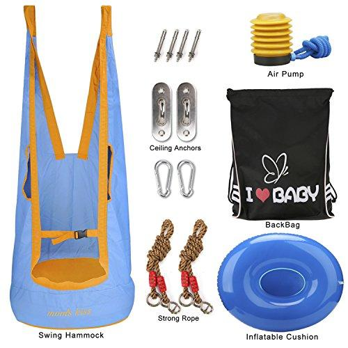 Aimego Kids Hammock, Hanging Hammock/Hammock Swing Maximum Load Capacity 65kg with Inflatable Cushion, Air Pump, Ceiling Anchors, Strong Rope and Backpack, Light Blue