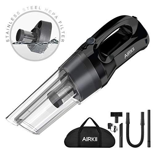 AIRKII Portable Cordless Handheld Vacuum Cleaner, Hand Vacuum 40 Mins Runtime Stainless Steel HEPA Filter 80W Powerful Wet Dry Cyclone Suction Rechargeable Lightweight for Home Car Pet Use HV-05