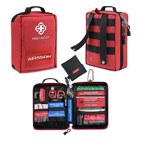Airsson First Aid Kit Bag Professional Molle Emergency Compact Pouch for Travel Car Home School Office Camping Hiking Survival (77 Pieces)