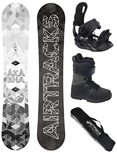 AIRTRACKS SNOWBOARD SET - WIDE BOARD AKASHA WIDE 157 - SOFTBINDING STAR - SOFTBOOTS SAVAGE BLACK 47 - SB BAG