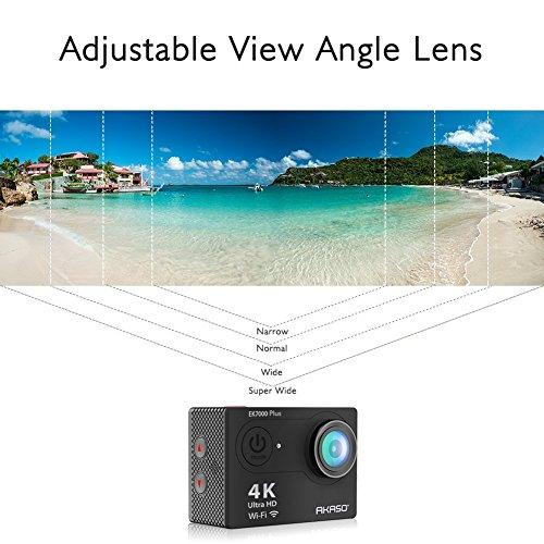 AKASO EK7000 Plus 4K 16MP WIFI Action Camera Adjustable View Angle 30M  Waterproof Camera Remote Control Sports Camera with Helmet Accessories Kit  and