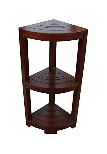 ALATEAK Corner Teak Wood Bath Spa Shower Stool Corner Shelf Storage Fully Assembled Brown