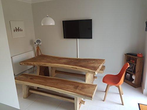ALBIZIA WOOD SOLID wooden LIVE EDGE DINING TABLE AND TWO BENCHES MADE FROM SOLID PIECES