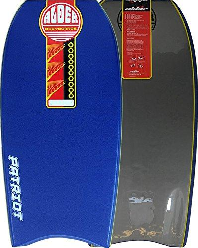 "Alder Patriot 44"" Bodyboard - PE Core with Stringer, Crescent Tail, 60/40 Rail, HDPE Slick and Graduated Channels."