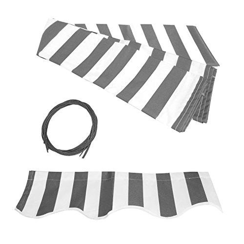 Aleko FAB20X10GREYWHT Retractable Awning Fabric Replacement 20 x 10 Feet Gray and White Striped
