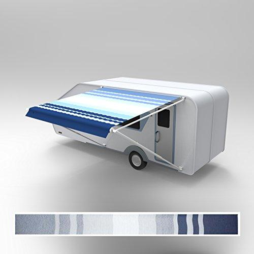 ALEKO® 20'X8' Retractable RV or Home Patio Canopy Awning, Blue Stripes Color