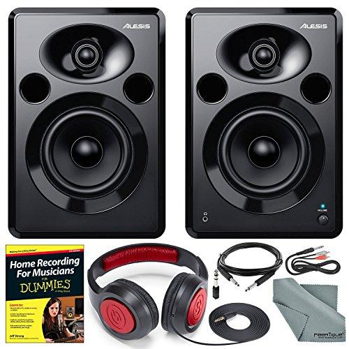 "Alesis Elevate 5 MKII 80W 5"" Two-Way Active Desktop Studio Speakers and Deluxe Bundle w/Home Recording Guide + Headphones + Cables + Fibertique Cloth"
