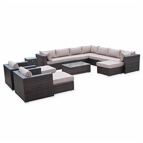 Alice's Garden - 13-14 seater rattan garden furniture large sofa set table, brown weave. Ready assembled conservatory furniture