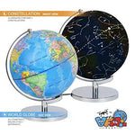 AlienTech 3-in-1 Illuminated World Globe with Stand - Nightlight and Globe Constellation for Kids with Illustrated Constellation Map