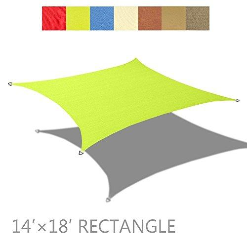 Alion Home 14' x 18' Rectangle PU Waterproof Woven Sun Shade Sail (1, Pear Green)