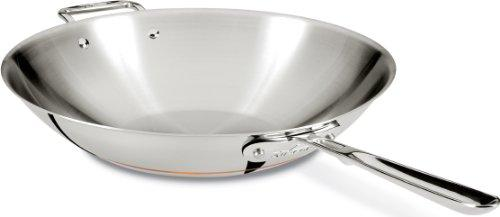 All-Clad 6414 SS Copper Core 5-Ply Bonded Dishwasher Safe Open Stir Fry Pan Cookware, 14-Inch, Silver by All-Clad