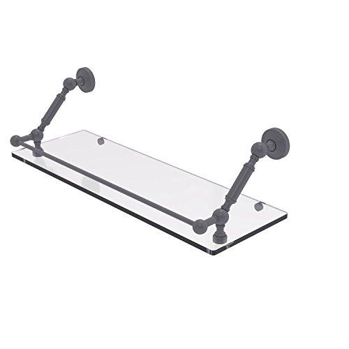 Allied Brass WP-1-24-GAL-GYM Waverly Place 24 Inch Floating Glass Shelf with Gallery Rail Matte Gray
