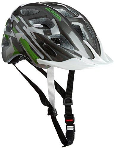 ALPINA Kid's Rocky Cycling Helmet, Titanium/Green/White, 47-52 cm
