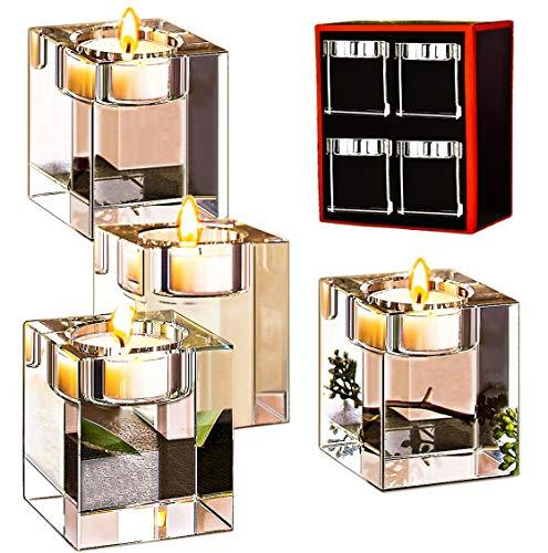 Amazing Home Candle Holders Set of 4,Elegant Heavy Crystal Cuboid Tealight Holders,Clear Square Glass Cube Candle Holder for Ceremony Wedding Centerpiece and Home Decor