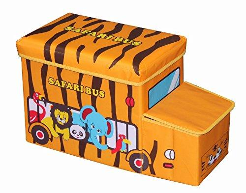 Amazinggirl Kids Room Toy Chest Tidy Storage Box Foldable Stool Cube with Padded Sitting Lid Space (Safari Bus, 55 x 26 x 31cm)