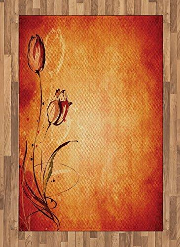 Ambesonne Antique Area Rug, Vintage Aged Background the Silhouette Rose Bloom Digital Image, Flat Woven Accent Rug Living Room Bedroom Dining Room, 4 X 5.7 FT, Orange Mustard Maroon