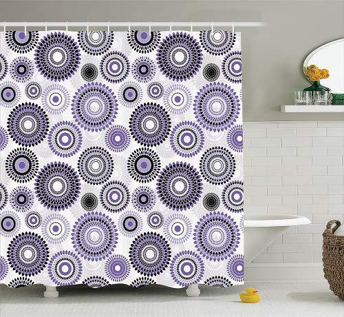 Ambesonne House Decor Collection, Abstract Medallion Pattern and Round Shape with Leaves Balls Floral Design Print, Polyester Fabric Bathroom Shower Curtain, 84 Inches Extra Long, Lilac Black Gray