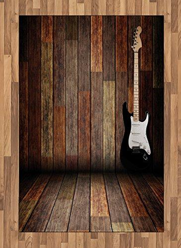 Ambesonne Popstar Party Area Rug, Electric Guitar in the Wooden Room Country House Interior Music Theme, Flat Woven Accent Rug Living Room Bedroom Dining Room, 4 X 5.7 FT, Brown Black White