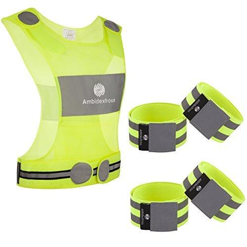 Ambidextrous Reflective Running Vest and 4 Ankle Bands Wristbands Armbands Make You 5 x More Visible and Have 8 x Lower Risk being hit in Traffic | High Visibility Cycling and Walking Safety Gear