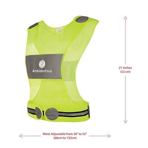 Ambidextrous Reflective Vest for Running Cycling Jogging Motorcycle Dog Walking - High Visibility Safety Gear for Men and Women - Yellow Lightweight Breathable Mesh Fabric - Zipper Storage Pocket