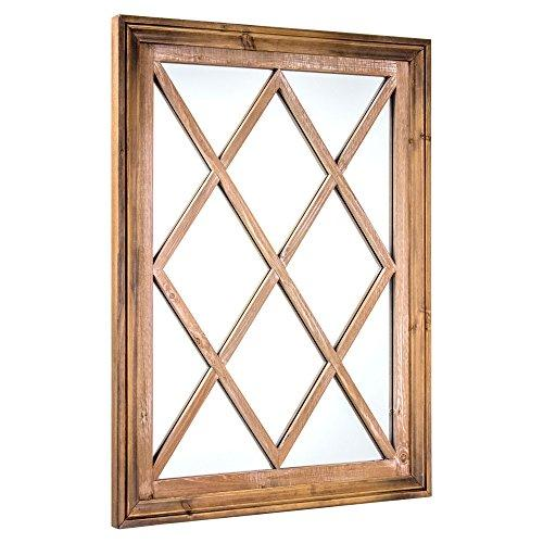 "American Art Decor Rustic Wood Window Pane Framed Wall Vanity Accent Mirror, Brown, 25.25"" H x 18.25"" L x 1"" D"