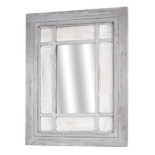 "American Art Decor Whitewashed Wood Window Pane Wall Vanity Accent Mirror, Grey, 30"" H x 24"" L x 1.5"" D"
