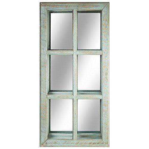 "American Art Decor Window Pane Wall Vanity Accent Mirror Cabinet, Wood, Whitewashed Teal, 31"" H x 15.5"" L x 6"" D"