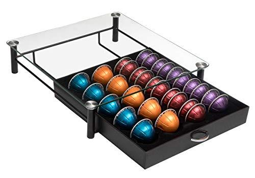 Amtido Nespresso Vertuoline Capsule Holder & Dolce Gusto Pods Storage Drawer - Coffee Machine Base with Tempered Glass - Beautiful Holder for Display and Organisation