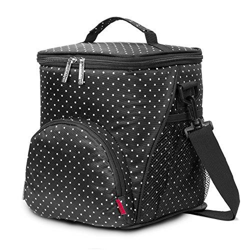 Amzbag Cooler Bag / M-size Lunch Bag / Leak-proof Cool Box Organizer / 12L 18 Cans For Travel / Picnic / Hiking (Black Dot)