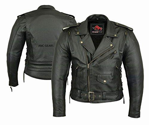 ANC GEARS Chopper Men's Motorbike Leather Jacket Motorcycle Protection Armour CE sizes S-5XL (M)
