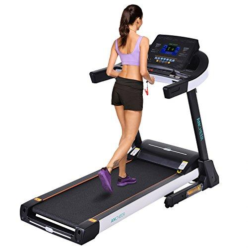 ANCHEER 3.5PS Electric Treadmill Fitness Equipment Folding Exercise Bike Large Tread Treadmill Professional L (Black)