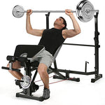 ANCHEER Multi-Function Olympic Weight Bench Adjustable with Leg Curl (Black,)