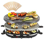Andrew James 2 in 1 Electric Stone Hotplate Raclette Indoor Party Grill Machine with Non-Stick Teppanyaki Griddle Hot Plate and Mini Crepe Maker 8 Fondue Cheese Pans and Wooden Spatulas Set Included