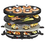 Andrew James 3 in 1 Electric Stone Raclette Party Grill Machine with Non-Stick Teppanyaki Griddle Plate and Mini Crepe Maker - 8 Fondue Cheese Pans and Wooden Spatulas Set Included