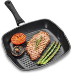 Andrew James Griddle Pan for All Hobs Including Induction | Oven-Proof Non-Stick Aluminium Pan with Removable Handle | Delicious Chargrilled Meat Chicken Fish & Veg