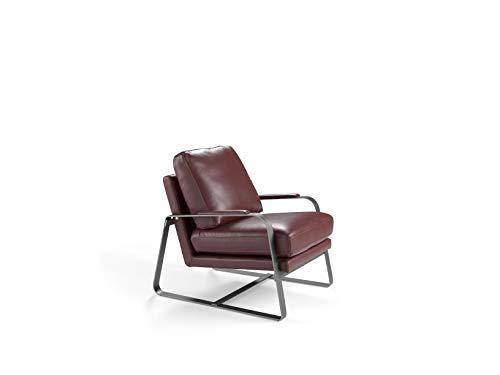 AngelCerda Upholsteres Armchair, with Polished Stainlees Steel Feet, Bordeaux, 69 x 88 x 84 cm