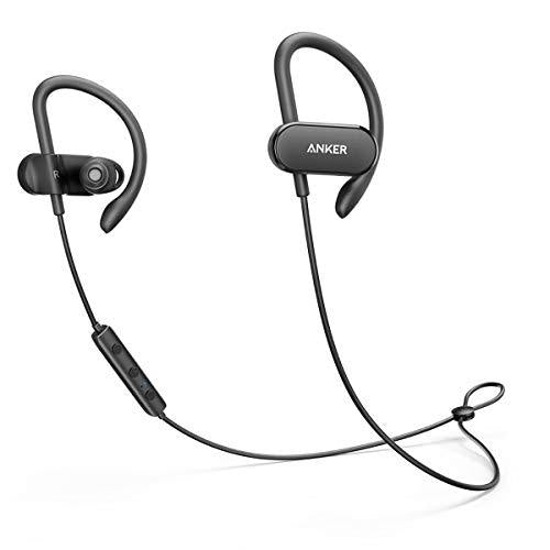 Anker SoundBuds Curve Wireless Headphones, Bluetooth 4.1 Sports Earphones with 12.5 Hour Battery, AptX Stereo Sound, Waterproof Nano Coating, Workout Headset with Built-In Mic and Carry Pouch