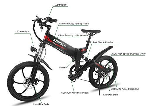 ANNISER Electric Bikes 20 Inches, Folding Electric Mountain Bike ...