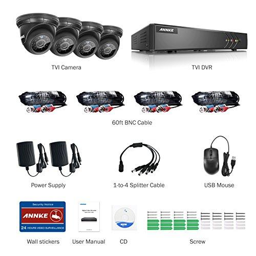 ANNKE Security Camera System Smart HD 1080P Lite 4+1 Channels DVR Recorder  w/ 4x 720P HD Outdoor Dome Camera, All-weather Adaptation, Email Alert with