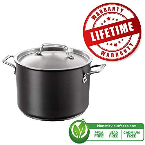 Anolon 24cm Stock Pot with Lid – Loved by Celebrity Chefs – Lifetime Warranty – Hard Anodized Aluminium Cookware– Stew Pot Induction and Oven Safe – Premium Non Stick Pot – Dishwasher Safe Cooking Pot