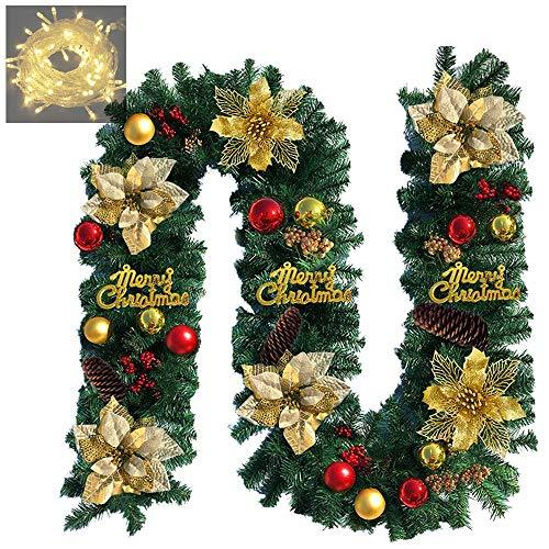 ANOTHERME 9 ft Long Christmas Garland with Gold Flowers, Red Gold Balls, Flocked Cones and 50 Clear Lights Artificial Pine Rope Garland Wreath for Christmas Holiday Decorations