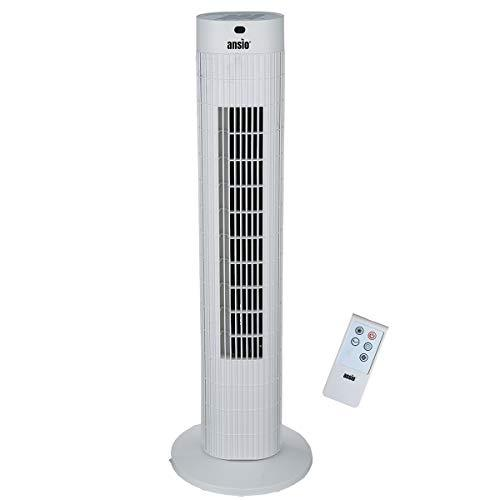 ANSIO Oscillating Tower Fan with Remote Control and 3-Speed 3-Wind Mode with Long 1.75 m Cable, 30-Inch. White (Batteries NOT Included)