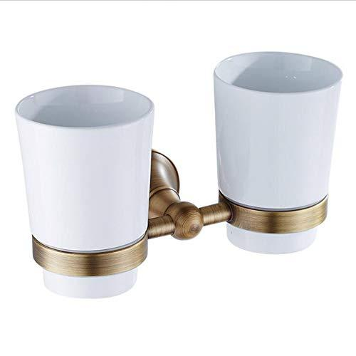 Antique Brushed Gold Toothbrush Cup Holder American Simple Double Toothbrush Cup Holder Wall-Mounted Brass Ceramic Toothbrush Cup Bathroom Hardware Accessories