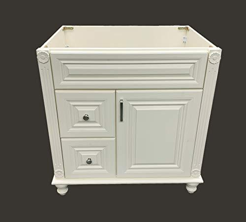 "Antique White Solid Wood Single Bathroom Vanity Base Cabinet 30"" W x 21""D x 32"" H (Left Drawers)"