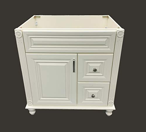 "Antique White Solid Wood Single Bathroom Vanity Base Cabinet 30"" W x 21""D x 32"" H (Right Drawers)"