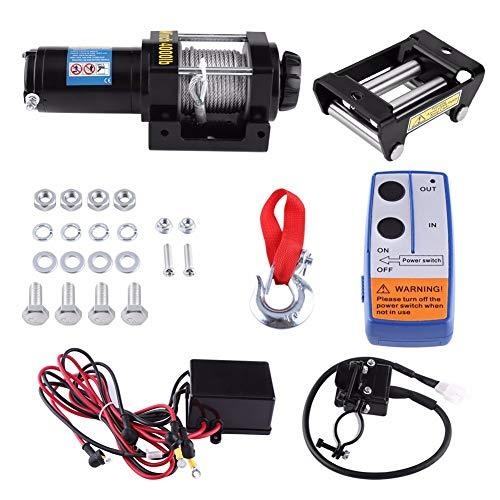 AoforzBrand Oversea DE ES 4000lbs Electric Recovery Winch Kit ATV Trailer Truck 15m HIGH TENSILE STEEL cable Car DC 12V Remote Control Set