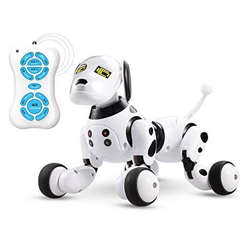 AOLVO Puppy Robot, RC Smart Dog Electronic Pet Dog Remote Control and Touch Control, Educational Kids Toy with Walking/Talking / Sing/Maths - White