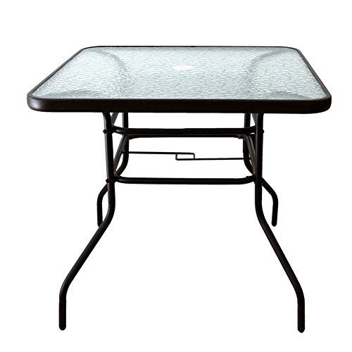 "AOODA 31.5"" Patio Table Dining Table Umbrella Stand Table with Tempered Glass Top Patio Bistro Table Yard Deck Outdoor Furniture Garden Table for Backyard, Balcony, Pool (Square)"