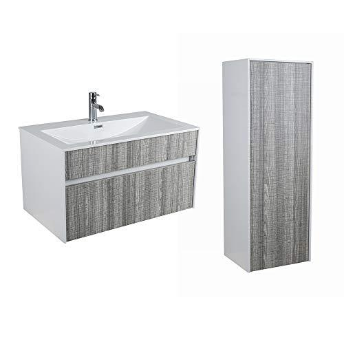 Aquariss Ash Wall Mounted Bathroom Vanity Unit with Drawer + Tall Caupboard Furniture Set