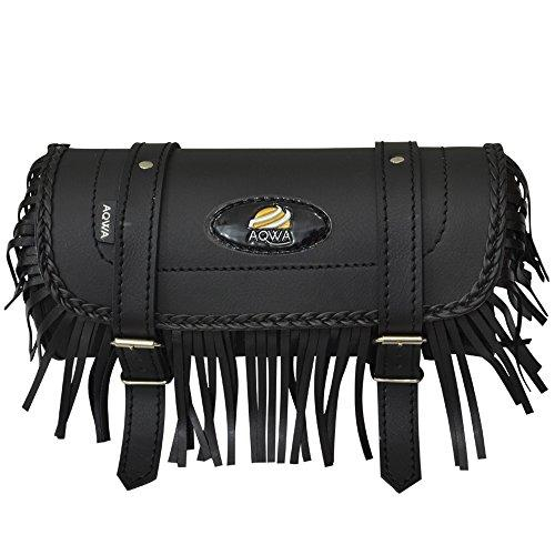 AQWA Motorcycle Motorbike Tool Roll Saddle Bag Luggage Storage Synthetic PU Leather Fringe Braid Design